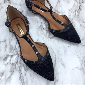 Halogen Olson t-strap d'orsay studded black flats